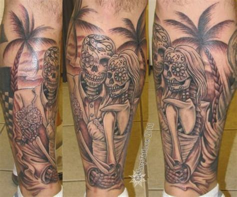 day of the dead couple tattoo day of the dead and groom tattoos dead wedding