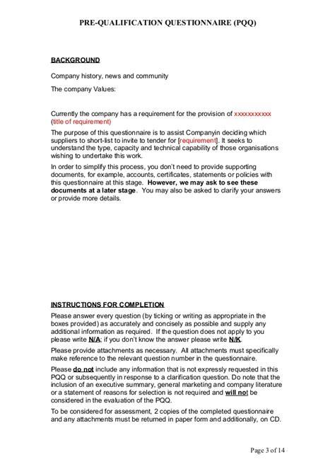 contractor pre qualification questionnaire template ppq template