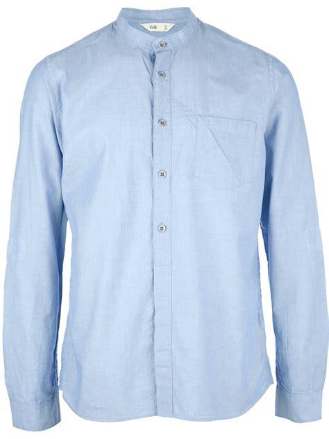 Collar Shirt 1 lyst folk grandad collar shirt in blue for