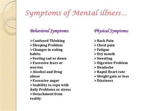 illness symptoms treatment for mental illness