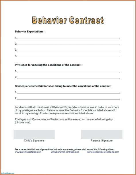 parent child behavior contract template template printable time card template