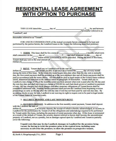 rent   home contract samples templates  word google docs apple pages