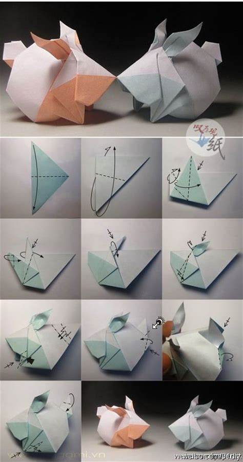 Origami Bunnies - origami rabbit folding origamis