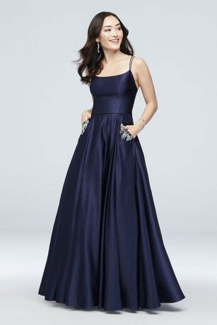 jewel pocket strappy satin ball gown davids bridal