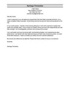 Cover Letter For Sales Associate by Best Part Time Sales Associates Cover Letter Exles Livecareer