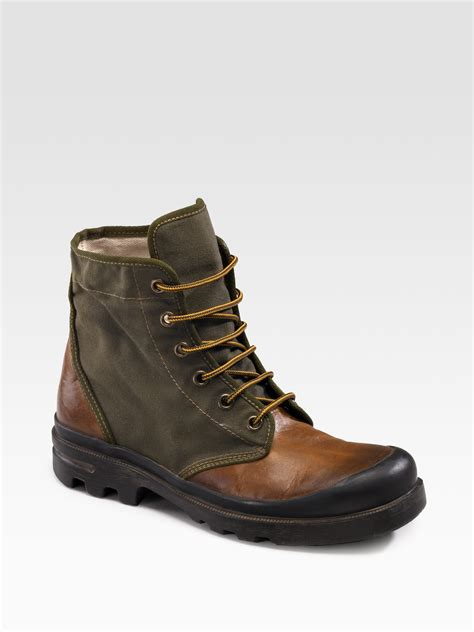 canvas boots lyst ralph leather canvas ankle boots in green