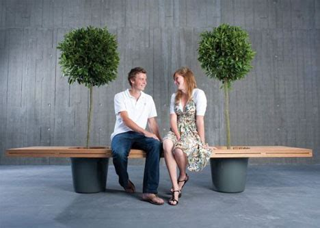benching people wooden bench planter built to bring two people together