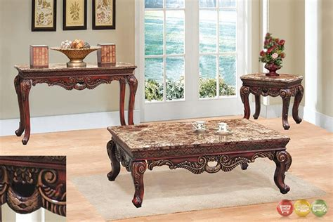 Living Room Table Set Traditional 3 Living Room Coffee End Table Set W Marble Tops