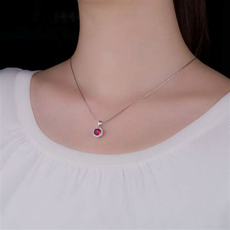 Ruby 16 1ct eternity 1ct ruby and white sapphire halo silver pendant