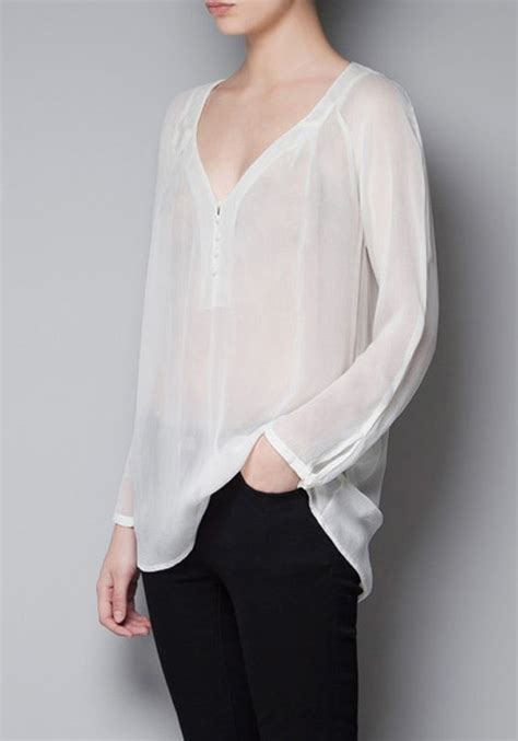 White Blouse white plain buttons sleeve chiffon blouse blouses