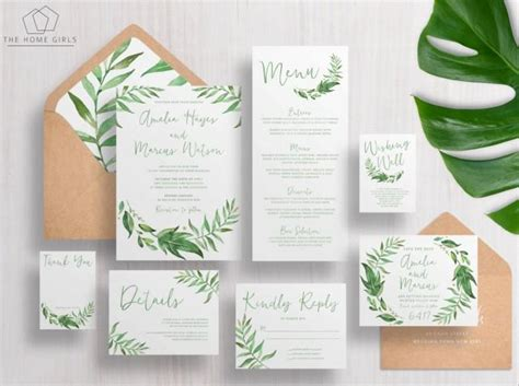 printable wedding invitation suites printable wedding invitation suite leafy greenery