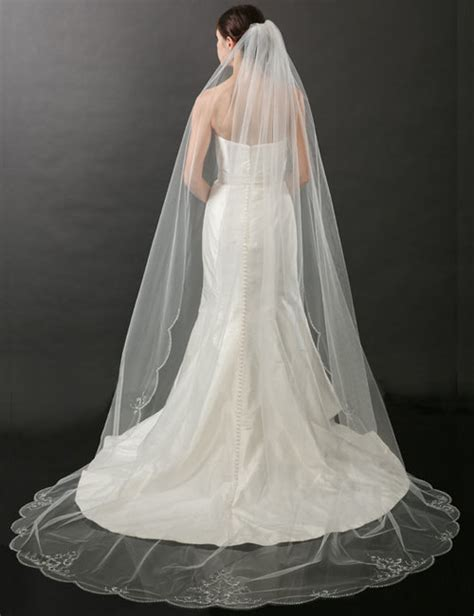 beaded cathedral veil bel aire bridal veils v7264c beaded scalloped cathedral veil