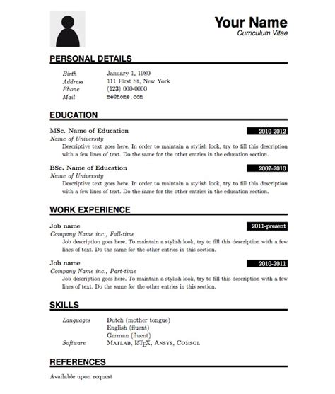 Resume Exles Pdf Free Basic Resume Template Pdf