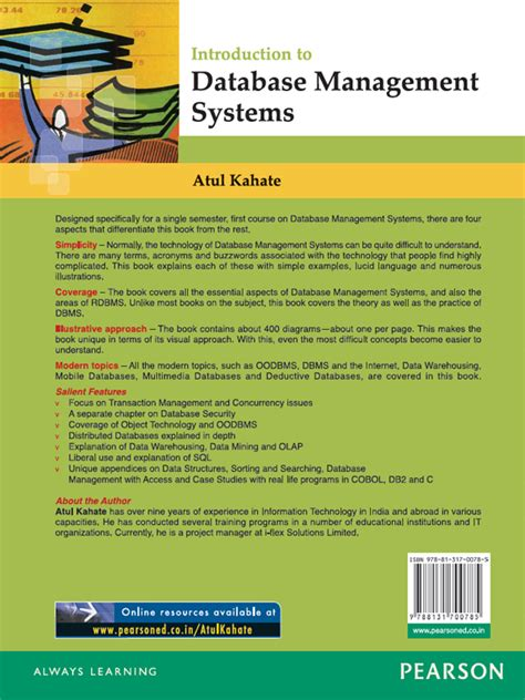 online tutorial database management system back cover introduction to database management systems