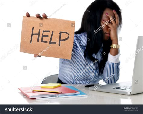 American Help Desk by Black American Ethnicity Tired Frustrated Stock Photo 255057529