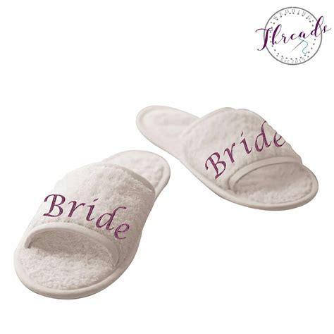 Wedding Slippers by Bridal Slippers Personalised Spa Style Wedding Slippers