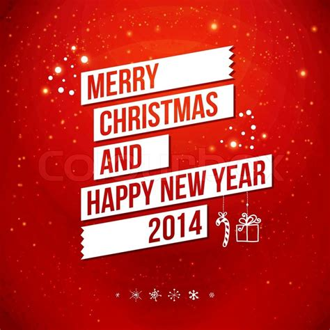 Merry Christmas And Happy New Year Gift Card - merry christmas and happy new year 2014 card stock vector colourbox