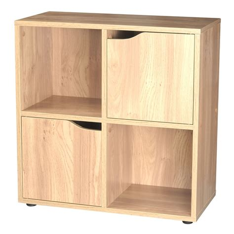 Oak Effect Wooden Storage Unit Shelf 4 Cube 2 Door Shelving Unit With Doors