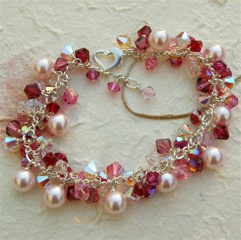 Swarovski Handmade Jewelry - pink pearl and ruby bracelet swarovski sterling