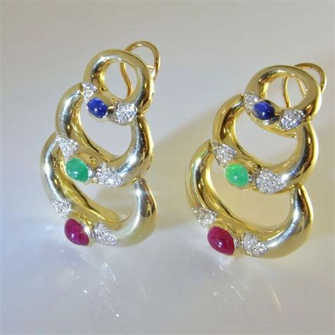 Retro Cabochon Sapphire Ruby Emerald Diamond 14K Yellow