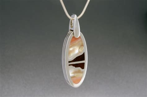 Geode Ring Box by Abalone Shell And Campeche Wood Inlay Sunset Pendant