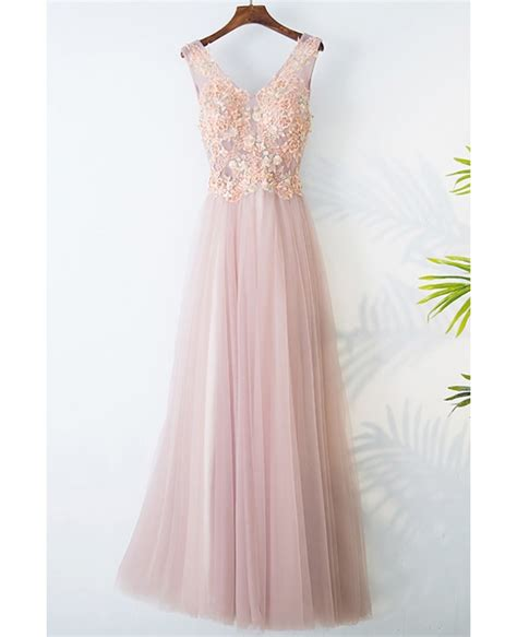 Sleeveless Lace Tulle Dress gorgeous pink tulle prom dress lace sleeveless