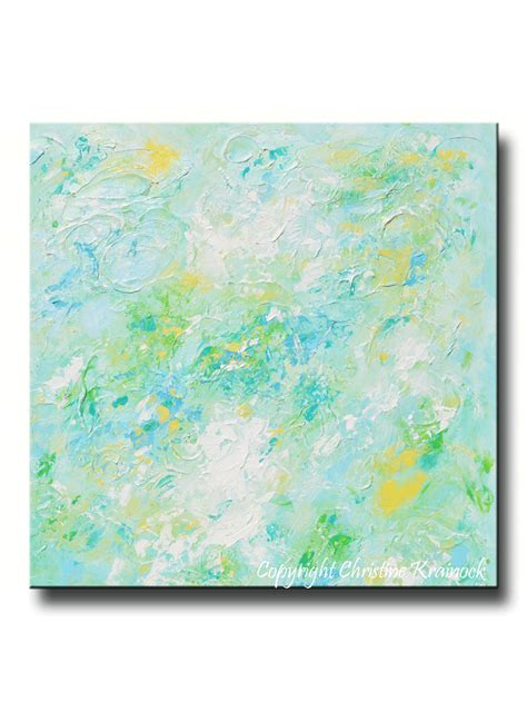 Giclee print soft aqua blue abstract painting light blue modern canvas contemporary art by