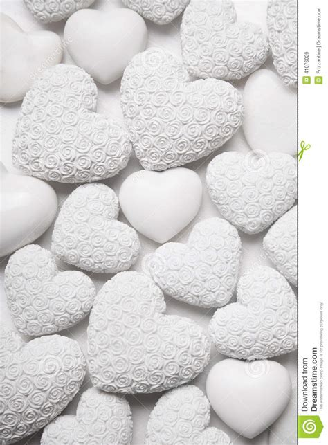 White Hearts Background With Small Roses. Shabby Chic Style. Stock Photo Image: 41076029