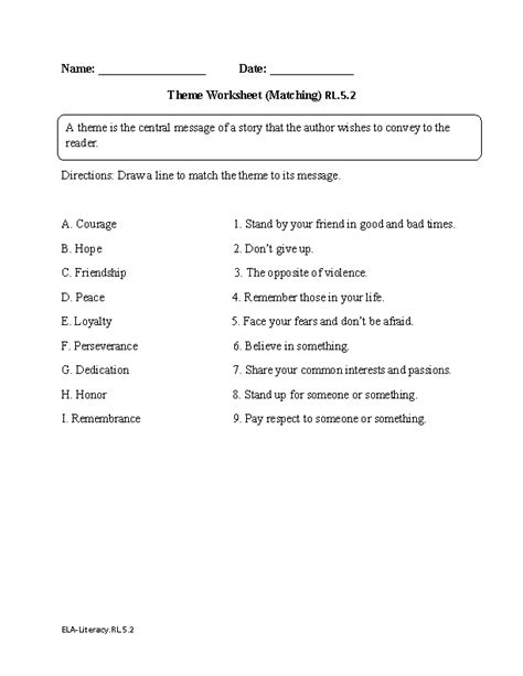 themes in literature test 5 english worksheets 5th grade common core worksheets