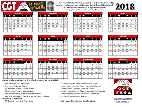 Calendario 2018 Laboral España Cgtfega Calendario Laboral De Madrid 2018