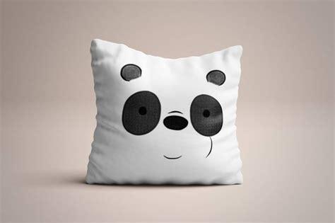 We Bare Bears Pillow we bare bears inspired panda handpainted throw pillow 15 7 in bare bears panda and throw