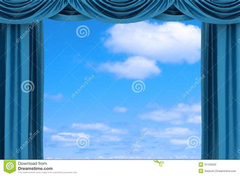 Theatrical Curtains by Open Blue Theater Curtain Stock Photos Image 31150563