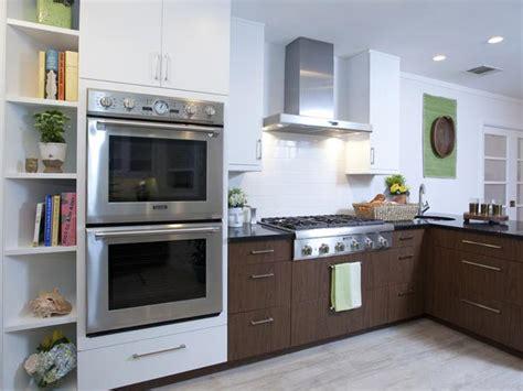 double oven kitchen design midcentury modern white kitchen with double ovens hgtv