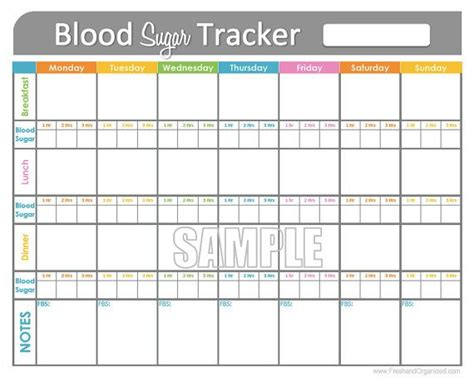 blood sugar tracker printable health medical