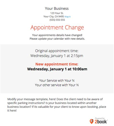 Sending Automated Appointment Emails To Clients Massagebook Appointment Confirmation Template