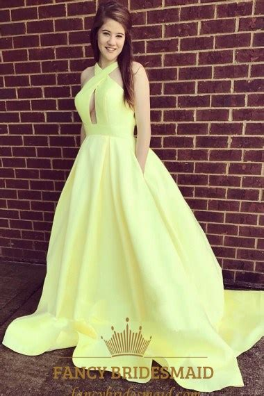 yellow halter neck keyhole backless satin ball gown prom