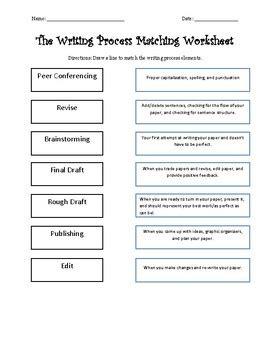 printable writing process worksheet writing process terms matching worksheet by melrivas tpt