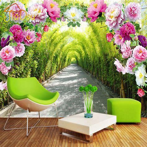 wallpaper flower garden 3d aliexpress com buy custom 3d mural wallpaper livingroom
