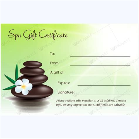 Editable Gift Card Template by This Spa Gift Certificate Template Is Designed In