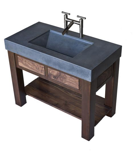 Trough Bathroom Vanity concrete trough sink with patinaed steel and black walnut