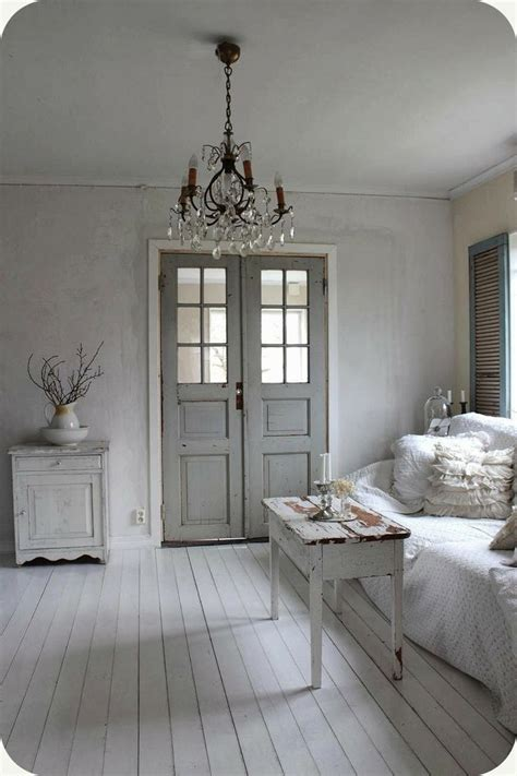 wonderful shabby space white grey chandelier   doors  shutters