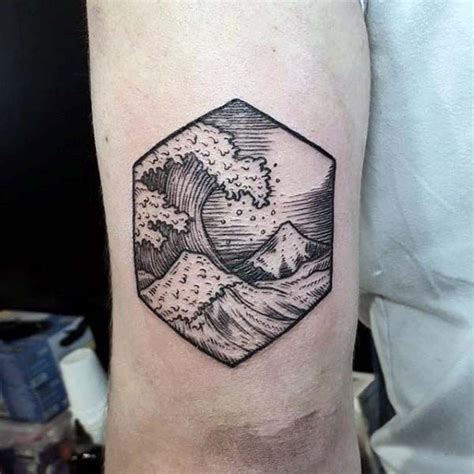 small male tattoos ideas small tricep of woodcut waves for cool