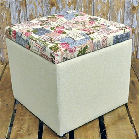 shabby chic footstool 32cm shabby chic floral fabric covered