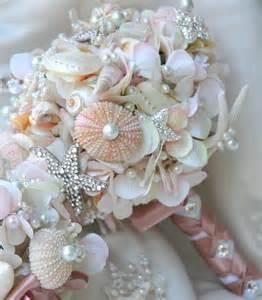 seashell bouquet pink sea shell wedding bouquet blush bridal bouquet by bohobridal
