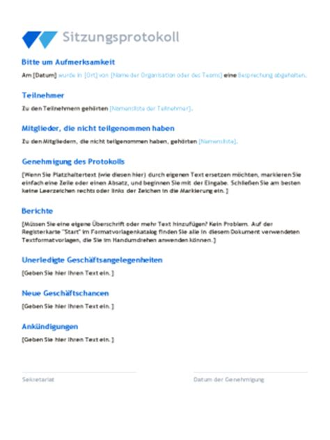 Word Vorlage Besprechungsprotokoll Sitzungsprotokoll Office Templates