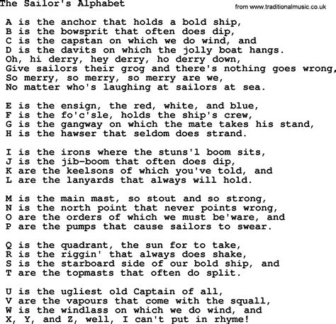 Letter Song Lyrics The Sailors Alphabet Sea Song Or Shantie Lyrics