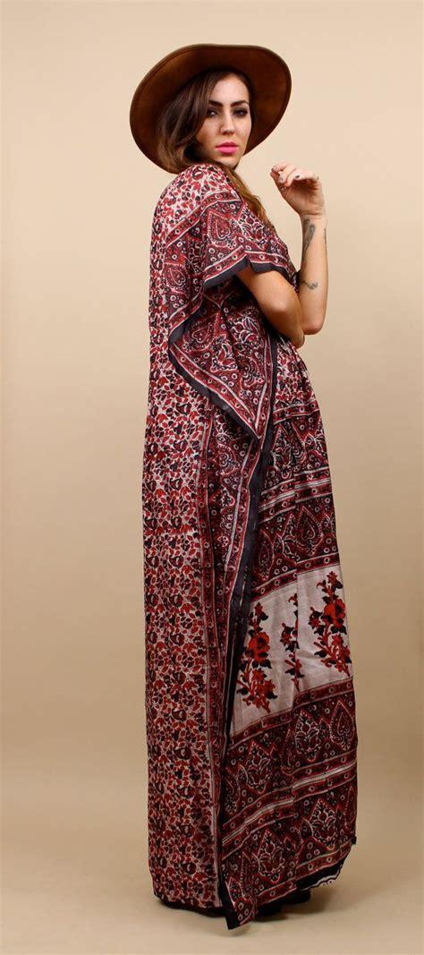 Kaftan Kimono 1 70s 80s vtg kaftan kimono dress one size ethnic print boho fe