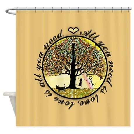 all you need for curtains all you need is love shower curtain by thetreeoflifeshop