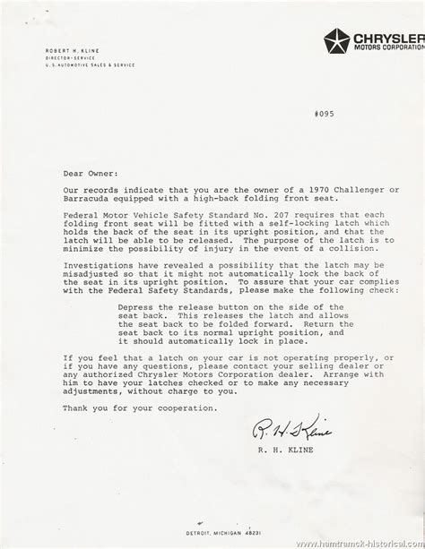 Dealership Letter The 1970 Hamtramck Registry Dealership Letters 1970 Page 1
