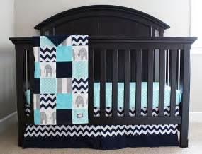 Aqua navy grey baby bedding custom crib bedding baby boy elephant